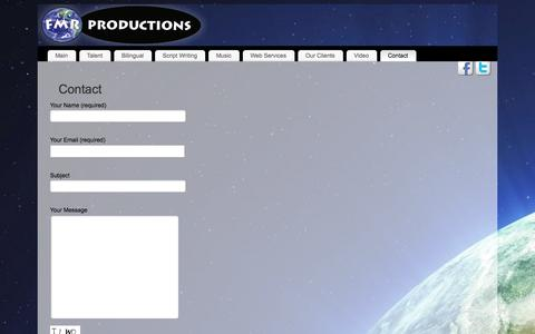 Screenshot of Contact Page fmrproductions.com - FMR Productions | Contact - captured Sept. 30, 2014