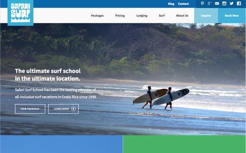 Screenshot of Home Page safarisurfschool.com - Safari Surf School | The Ultimate Surf Camp - Nosara, Costa Rica - captured Oct. 4, 2014