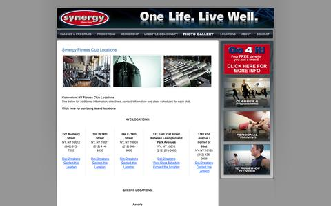 Screenshot of Contact Page Locations Page synergyfitclubs.com - Synergy Fitness Clubs: Locations - captured Oct. 26, 2014