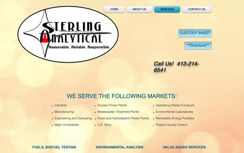 Screenshot of Services Page sterlinganalytical.com - Sterling Analytical, lab services, massachusetts | SERVICES - captured Dec. 1, 2016