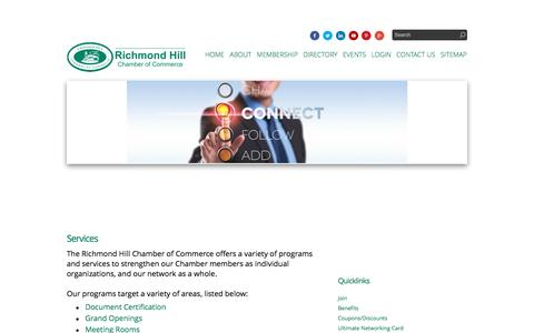 Screenshot of Services Page rhcoc.com - Services - Richmond Hill Chamber of Commerce | Richmond Hill, ON - captured Feb. 15, 2016