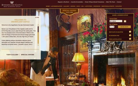 Screenshot of Home Page dromoland.ie - Dromoland Castle: 5 Star Hotels Ireland, Luxury Hotels Ireland - captured Nov. 16, 2015