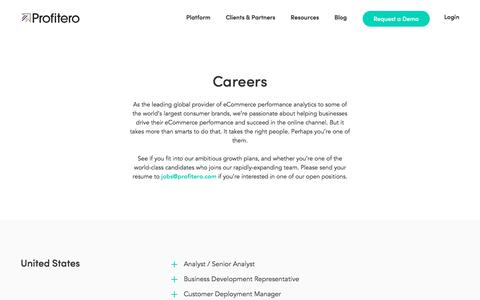 Screenshot of Jobs Page profitero.com - Profitero | Careers in the Growing eCommerce Industry - captured Sept. 16, 2019