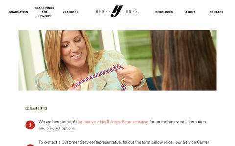 Screenshot of Contact Page Support Page herffjones.com - Customer Service - Herff Jones - captured Jan. 21, 2019