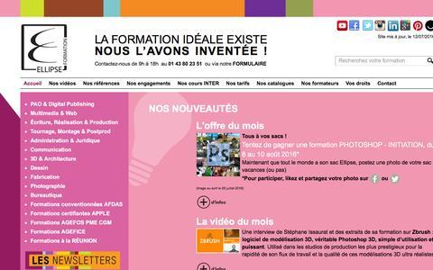 Screenshot of Home Page ellipseformation.com - ELLIPSE FORMATION – La formation idéale existe - Ellipse centre de formation - captured July 13, 2016