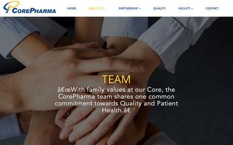 Screenshot of Team Page corepharma.com - Core Pharma | Team - captured Sept. 29, 2018
