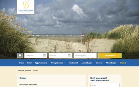 Screenshot of Contact Page bernstorff.nl - Contact  | Hotel Graaf Bernstorff | Hotel – Appartementen – Restaurant – Schiermonnikoog - captured Nov. 2, 2014