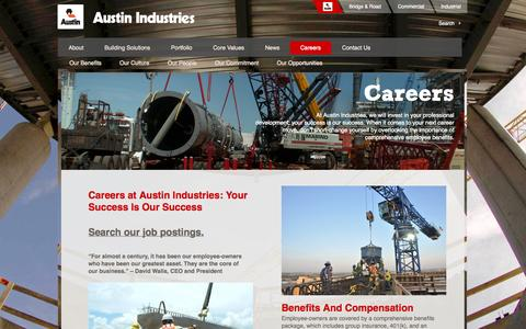 Screenshot of Jobs Page austin-ind.com - Careers | Working at Austin Industries - captured Oct. 4, 2014