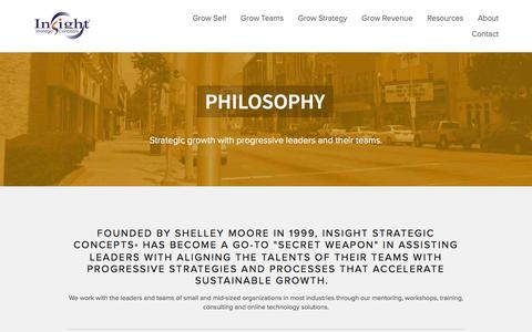 Screenshot of About Page insightsc.com - Philosophy — Insight Strategic Concepts® | Business Strategy, Marketing Communications,  Sales Growth and Leadership Inspiration - captured Feb. 11, 2016