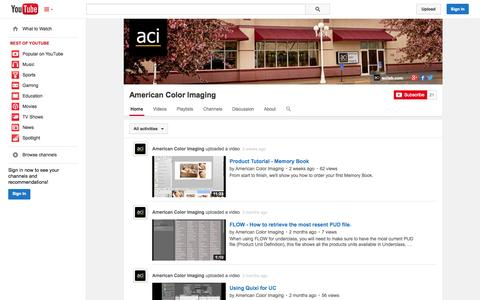 Screenshot of YouTube Page youtube.com - American Color Imaging  - YouTube - captured Oct. 23, 2014