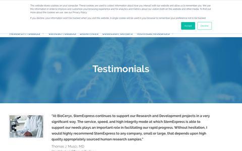 Screenshot of Testimonials Page stemexpress.com - Customer Testimonials | StemExpress - captured Sept. 21, 2018