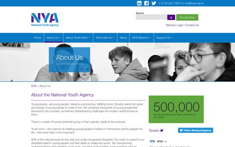 Screenshot of About Page nya.org.uk - About the National Youth Agency - captured Oct. 18, 2018