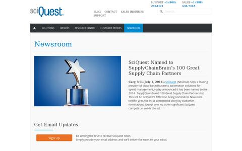 Screenshot of Press Page sciquest.com - Newsroom   SciQuest   Procure to Pay Technology News - captured July 20, 2014