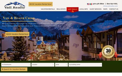 Screenshot of Home Page vailrealty.com - Vail Realty - Vacation Rentals and Real Estate in the Vail Valley, Vail Village, Lionshead, Beaver Creek - captured Oct. 22, 2018