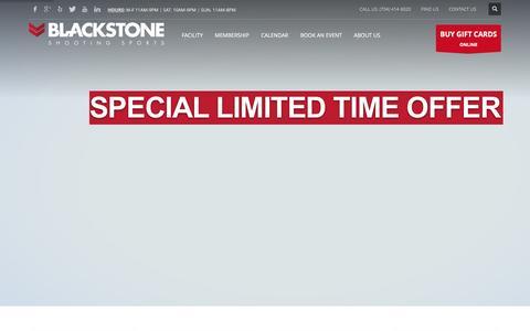 Screenshot of Home Page blackstoneshooting.com - Blackstone Shooting Sports | Charlotte, NC indoor range & store - captured Jan. 5, 2016