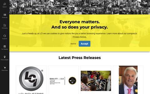 Screenshot of Press Page lci1.com - Press Releases | Lippert Components, Inc - captured June 13, 2019