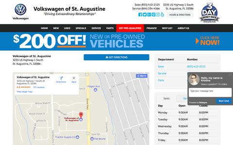 Screenshot of Hours Page vwstaug.com - Volkswagen of St. Augustine Hours & Directions - St. Augustine FL area Volkswagen dealer serving St. Augustine FL - New and Used Volkswagen dealership serving Butler Beach Crescent Beach Palm Coast FL - captured Oct. 22, 2017