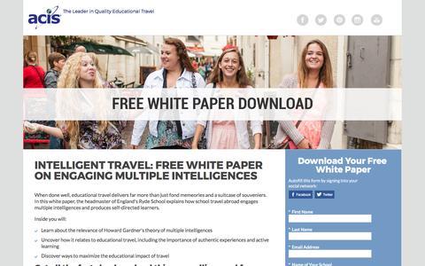 Screenshot of Landing Page acis.com - ACIS Intelligent Travel White Paper - captured March 13, 2017