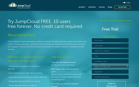 Screenshot of Signup Page jumpcloud.com - JumpCloud Signup - captured Dec. 4, 2015