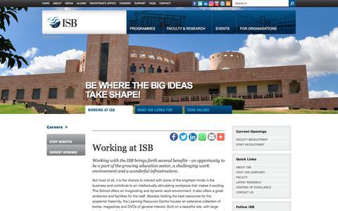 Screenshot of Jobs Page isb.edu - Careers | Working at ISB | Indian School of Business (ISB) - captured Sept. 22, 2018