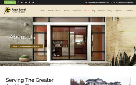 Screenshot of About Page pugetsoundwindow.com - About Us   Puget Sound Window & Door   Puyallup, WA - captured Sept. 29, 2018