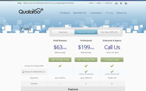 Screenshot of Pricing Page qualaroo.com - Pricing | Qualaroo - Behavior Insight Surveys For Smarter A/B Testing - captured July 19, 2014