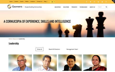Screenshot of Team Page geometricglobal.com - Leadership | Board of Directors | Management Team | Geometric Ltd - captured Nov. 5, 2016