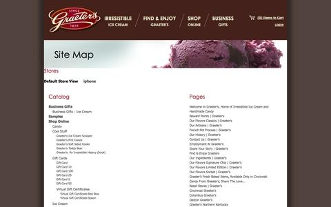 Screenshot of Site Map Page graeters.com - Site Map - captured Sept. 19, 2014