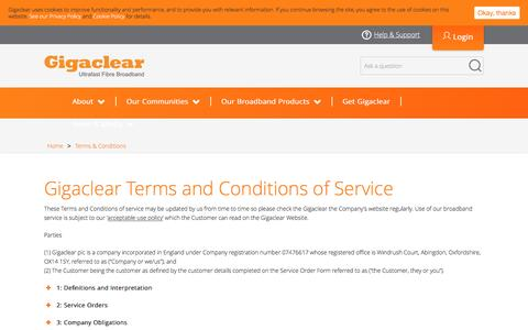 Screenshot of Terms Page gigaclear.com - Terms & Conditions  |  Gigaclear - captured July 4, 2016