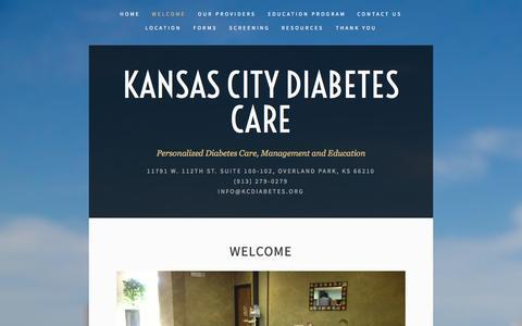 Screenshot of Menu Page kcdiabetescare.org - Welcome — Kansas City Diabetes Care - captured Oct. 6, 2014