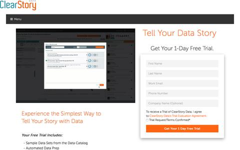 Screenshot of Trial Page clearstorydata.com - See ClearStory Data in Action with a 1 Day Trial - captured Jan. 28, 2018