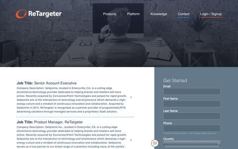 Screenshot of Jobs Page retargeter.com - Careers - Retargeter - captured April 22, 2018
