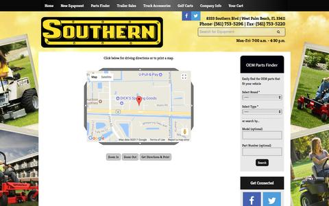 Screenshot of Maps & Directions Page southernlawnequip.com - Map and Driving Directions Southern West Palm Beach, FL (561) 753-5296 - captured Nov. 8, 2017