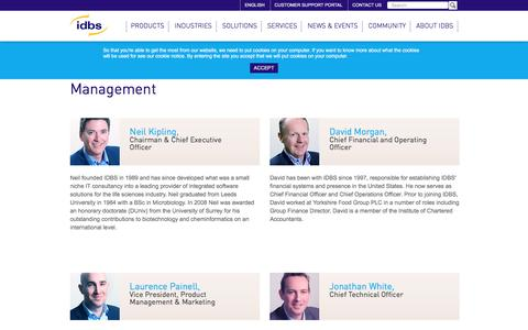 Screenshot of Team Page idbs.com - Management team - captured Nov. 16, 2016