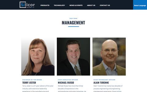 Screenshot of Team Page silicormaterials.com - Management | Solar Silicon Manufacturer at Silicor Materials - captured July 12, 2018