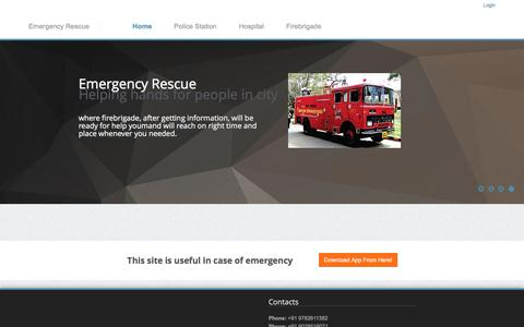 Screenshot of Home Page erescue.co.in - Emergency Rescue - captured Dec. 8, 2016