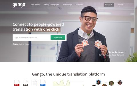 Screenshot of Home Page gengo.com - Professional Translation Services by Gengo - Gengo - captured July 3, 2015