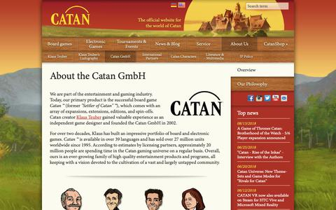 Screenshot of About Page catan.com - Catan GmbH | Catan.com - captured Sept. 27, 2018