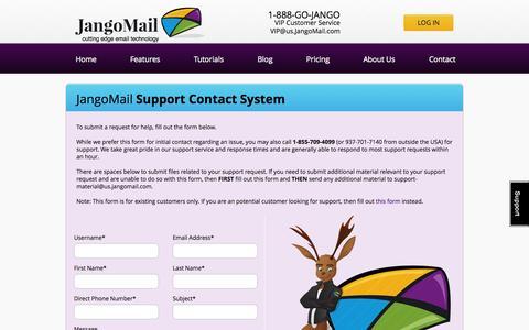 Screenshot of Support Page jangomail.com - Contact JangoMail Support Staff - captured Oct. 10, 2014