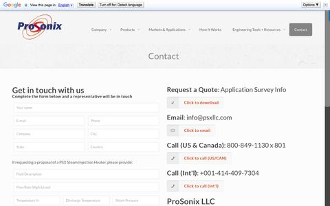 Screenshot of Contact Page pro-sonix.com - Steam Heating Experts | Process Heating Experts - Contact Us - captured Nov. 12, 2016
