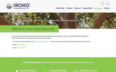 Screenshot of Press Page iroko.com - Newsroom | Iroko Pharmaceuticals - captured Oct. 15, 2017