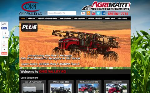 Screenshot of Home Page ohiovalleyag.com - Home | Ohio Valley Ag | Precision Agricultural Spray and Fertilizer Application Equipment Headquarters | Agricultural Machinery | Ag Spray Parts | Self Propelled Sprayers - captured Oct. 7, 2014