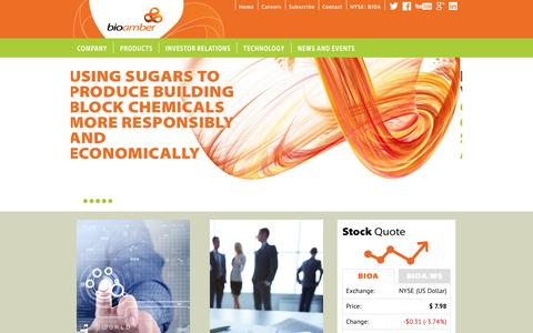 Screenshot of Home Page bio-amber.com - BioAmber is a Sustainable Chemicals Company Offering Choice, Naturally - captured Jan. 14, 2015