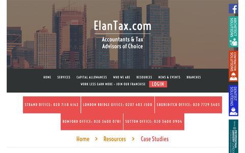 Screenshot of Case Studies Page elantax.com - Case Studies  |  ElanTax Limited - captured Dec. 14, 2018