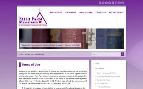 Screenshot of Terms Page faithfarm.org - Terms of Use - Faith Farm Ministries | Faith-Based | Christian Addiction Recovery | Rehabilitation | Boynton Beach | Ft Lauderdale | Okeechobee | FL - captured Oct. 5, 2014