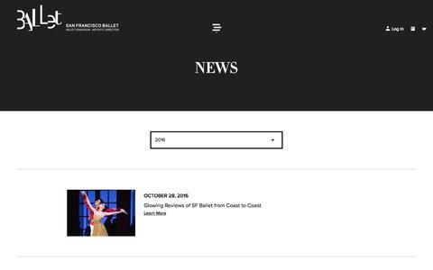 Screenshot of Press Page sfballet.org - San Francisco Ballet - News - captured Nov. 18, 2016