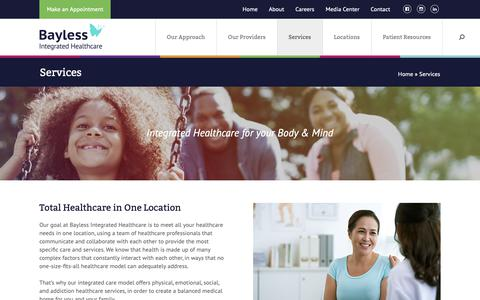 Screenshot of Services Page baylesshealthcare.com - Services - Bayless Healthcare - captured Oct. 5, 2018