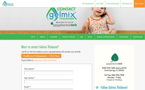 Screenshot of Contact Page gelmix.com - Contact Gelmix - Gelmix Formula & Breast Milk Thickener - captured Oct. 20, 2016