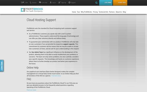 Screenshot of Support Page profitbricks.com - Cloud Hosting Support | ProfitBricks - captured Sept. 17, 2014