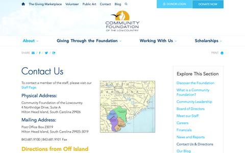 Screenshot of Contact Page Maps & Directions Page cf-lowcountry.org - Contact Us & Directions - About - Community Foundation of the Lowcountry - captured Sept. 29, 2018